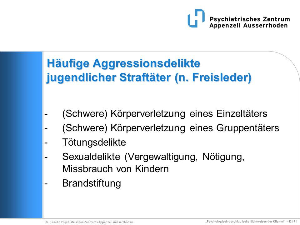 Psychologisch-psychiatrische Sichtweisen der Klientel - 42 / 71 Th. Knecht, Psychiatrischen Zentrums Appenzell Ausserrhoden Häufige Aggressionsdelikte