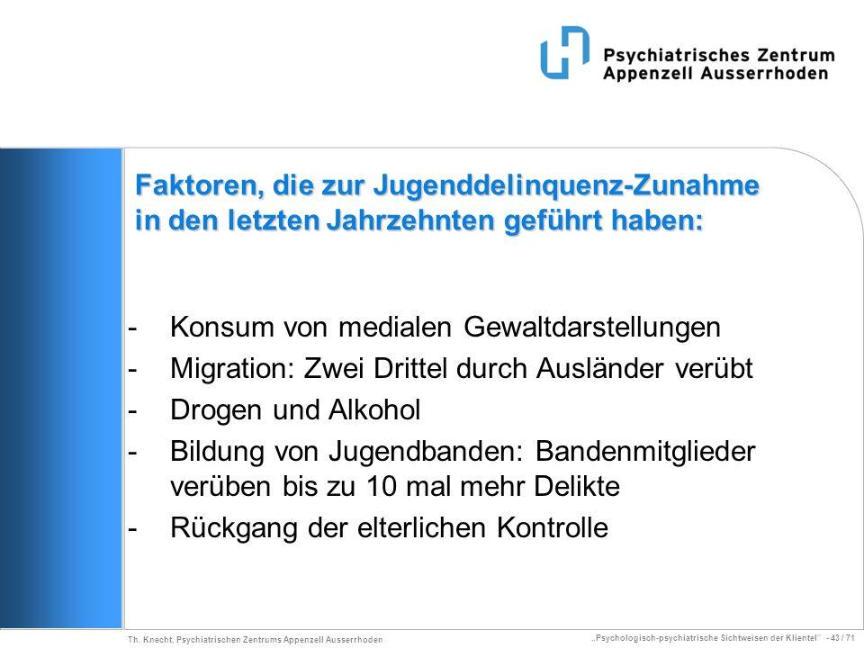 Psychologisch-psychiatrische Sichtweisen der Klientel - 43 / 71 Th. Knecht, Psychiatrischen Zentrums Appenzell Ausserrhoden Faktoren, die zur Jugendde