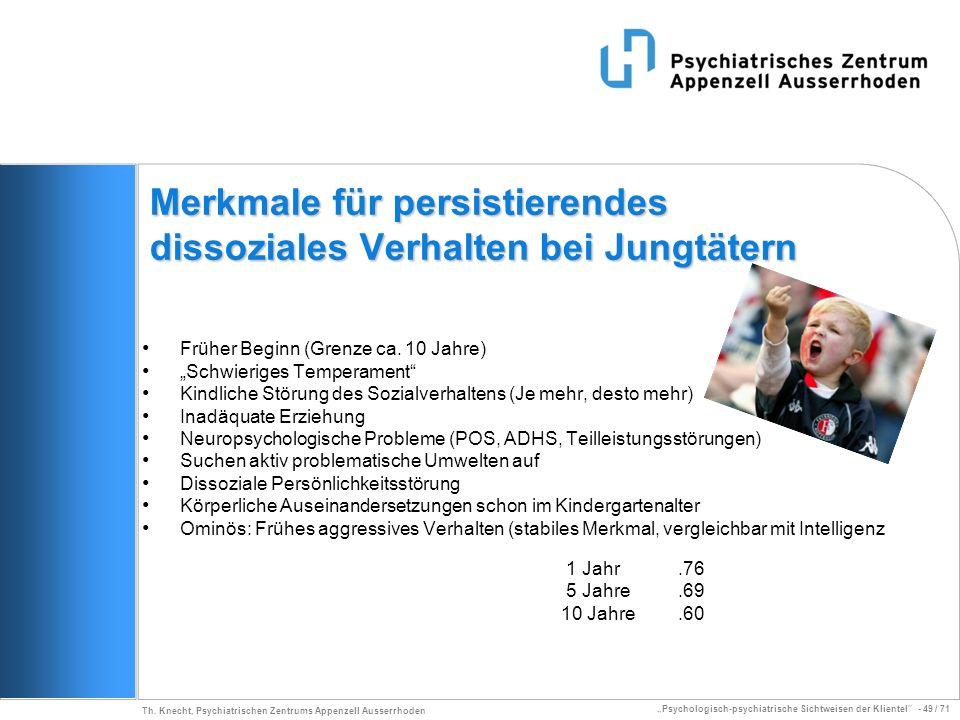 Psychologisch-psychiatrische Sichtweisen der Klientel - 49 / 71 Th. Knecht, Psychiatrischen Zentrums Appenzell Ausserrhoden Merkmale für persistierend