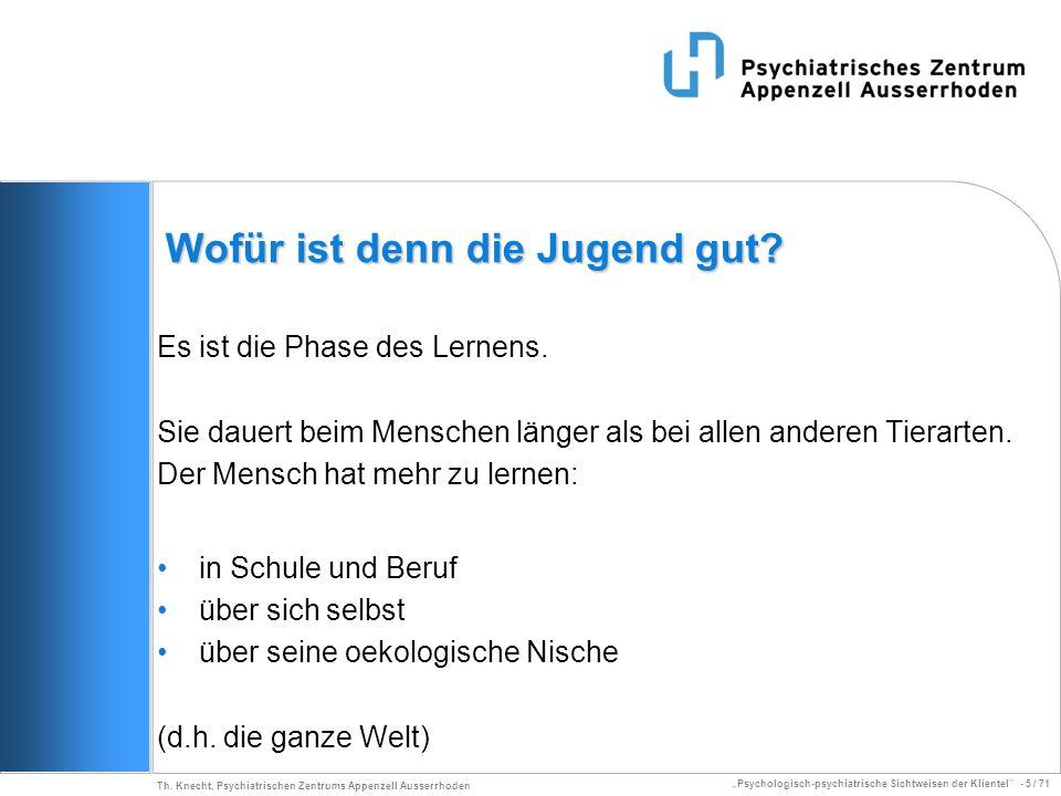 Psychologisch-psychiatrische Sichtweisen der Klientel - 5 / 71 Th. Knecht, Psychiatrischen Zentrums Appenzell Ausserrhoden Wofür ist denn die Jugend g