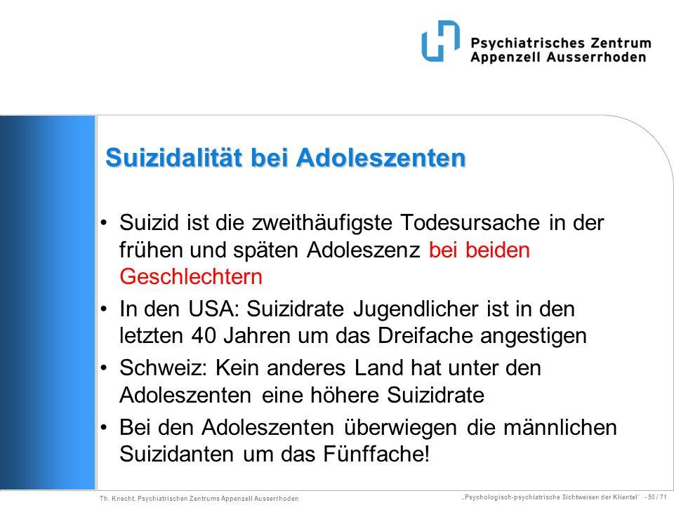 Psychologisch-psychiatrische Sichtweisen der Klientel - 50 / 71 Th. Knecht, Psychiatrischen Zentrums Appenzell Ausserrhoden Suizidalität bei Adoleszen
