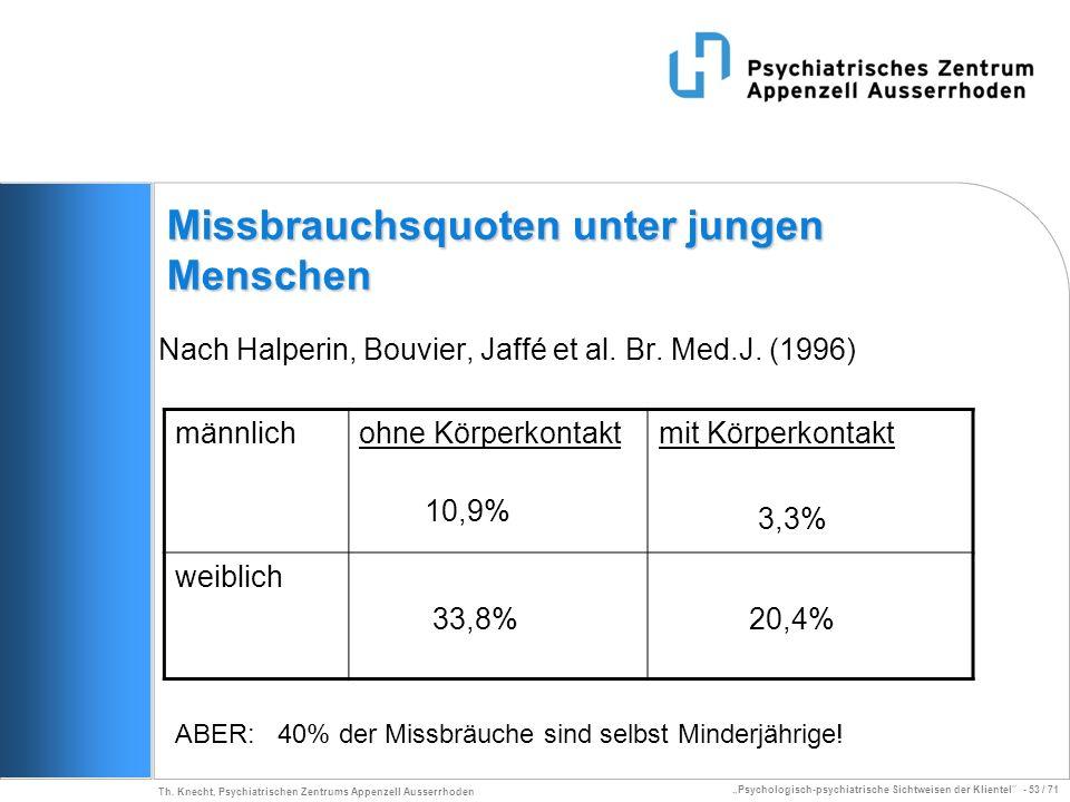 Psychologisch-psychiatrische Sichtweisen der Klientel - 53 / 71 Th. Knecht, Psychiatrischen Zentrums Appenzell Ausserrhoden Missbrauchsquoten unter ju