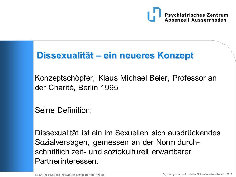 Psychologisch-psychiatrische Sichtweisen der Klientel - 58 / 71 Th. Knecht, Psychiatrischen Zentrums Appenzell Ausserrhoden Dissexualität – ein neuere