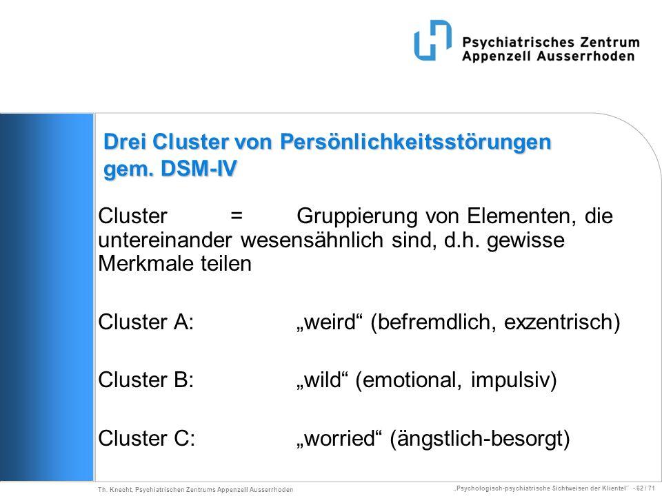 Psychologisch-psychiatrische Sichtweisen der Klientel - 62 / 71 Th. Knecht, Psychiatrischen Zentrums Appenzell Ausserrhoden Drei Cluster von Persönlic