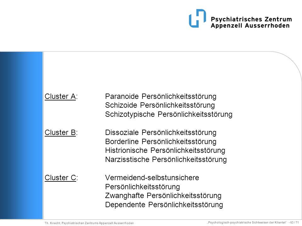 Psychologisch-psychiatrische Sichtweisen der Klientel - 63 / 71 Th. Knecht, Psychiatrischen Zentrums Appenzell Ausserrhoden Cluster A: Paranoide Persö