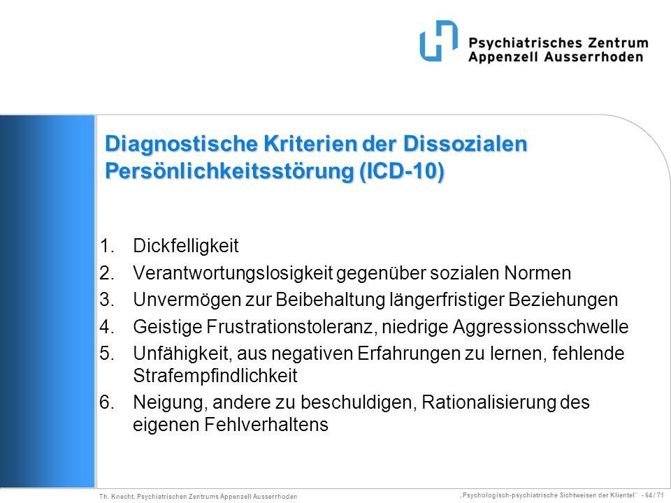 Psychologisch-psychiatrische Sichtweisen der Klientel - 64 / 71 Th. Knecht, Psychiatrischen Zentrums Appenzell Ausserrhoden Diagnostische Kriterien de