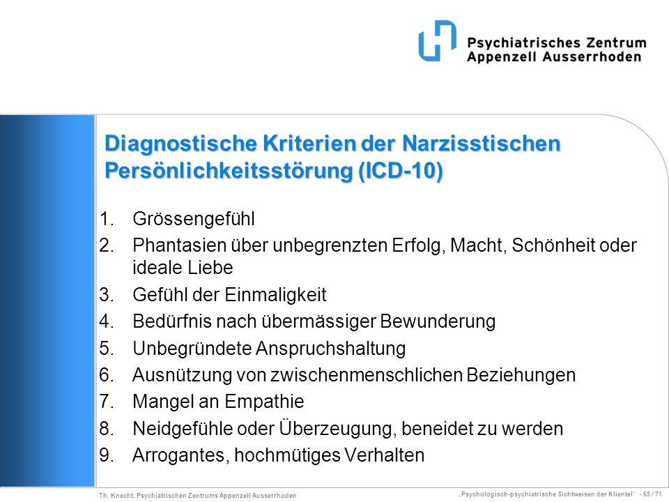 Psychologisch-psychiatrische Sichtweisen der Klientel - 65 / 71 Th. Knecht, Psychiatrischen Zentrums Appenzell Ausserrhoden Diagnostische Kriterien de