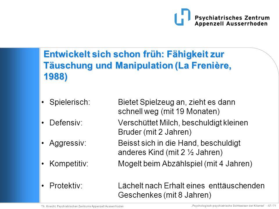 Psychologisch-psychiatrische Sichtweisen der Klientel - 67 / 71 Th. Knecht, Psychiatrischen Zentrums Appenzell Ausserrhoden Entwickelt sich schon früh