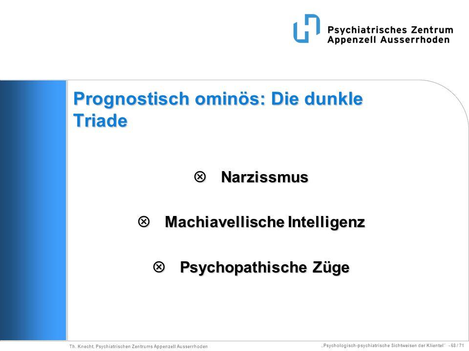 Psychologisch-psychiatrische Sichtweisen der Klientel - 68 / 71 Th. Knecht, Psychiatrischen Zentrums Appenzell Ausserrhoden Prognostisch ominös: Die d
