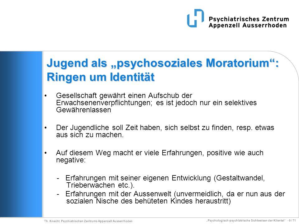 Psychologisch-psychiatrische Sichtweisen der Klientel - 9 / 71 Th. Knecht, Psychiatrischen Zentrums Appenzell Ausserrhoden Jugend als psychosoziales M