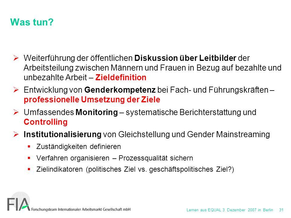 Lernen aus EQUAL 3. Dezember 2007 in Berlin 31 Was tun.