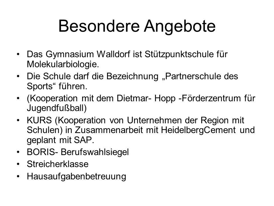 Besondere Angebote Das Gymnasium Walldorf ist Stützpunktschule für Molekularbiologie. Die Schule darf die Bezeichnung Partnerschule des Sports führen.