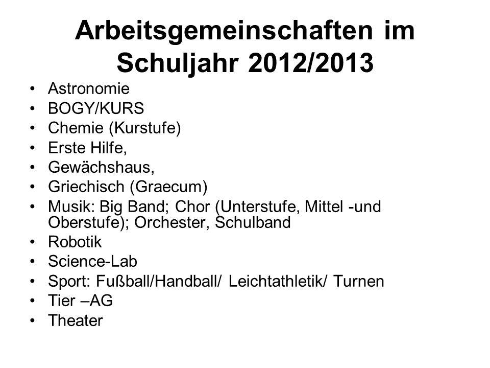 Arbeitsgemeinschaften im Schuljahr 2012/2013 Astronomie BOGY/KURS Chemie (Kurstufe) Erste Hilfe, Gewächshaus, Griechisch (Graecum) Musik: Big Band; Ch