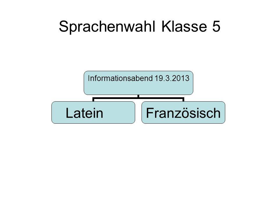 Sprachenwahl Klasse 5 Informationsabend 19.3.2013 LateinFranzösisch