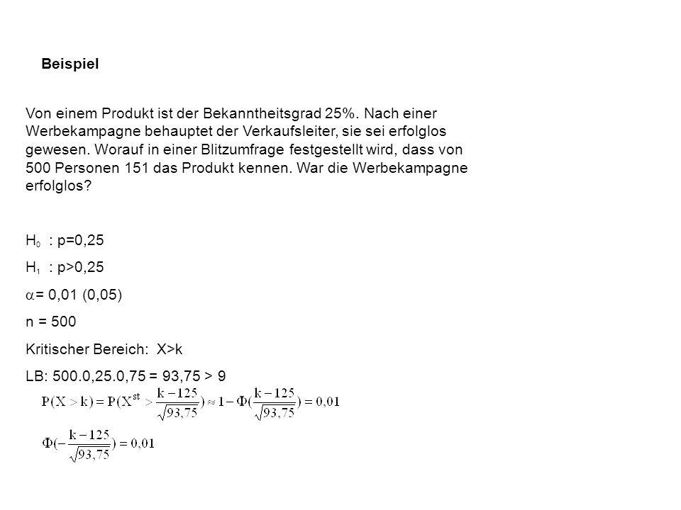 Weitere Parametertests für p Einseitiger Test H 0 : p p o kritischer Bereich: {X > k} H 0 : p > p o H 1 : p < p o kritischer Bereich: {X < k} Zweiseit