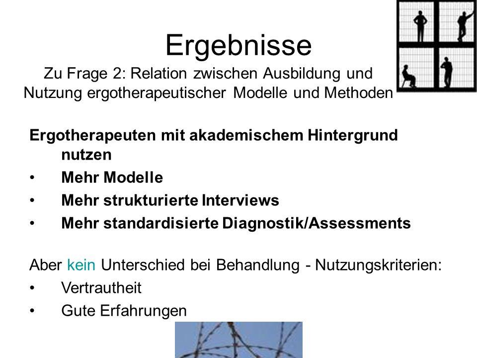 Ergebnisse Zu Frage 2: Relation zwischen Ausbildung und Nutzung ergotherapeutischer Modelle und Methoden Ergotherapeuten mit akademischem Hintergrund
