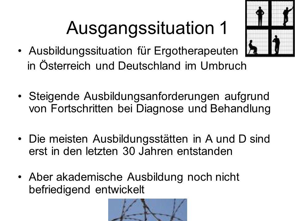 Ausgangssituation 1 Ausbildungssituation für Ergotherapeuten in Österreich und Deutschland im Umbruch Steigende Ausbildungsanforderungen aufgrund von