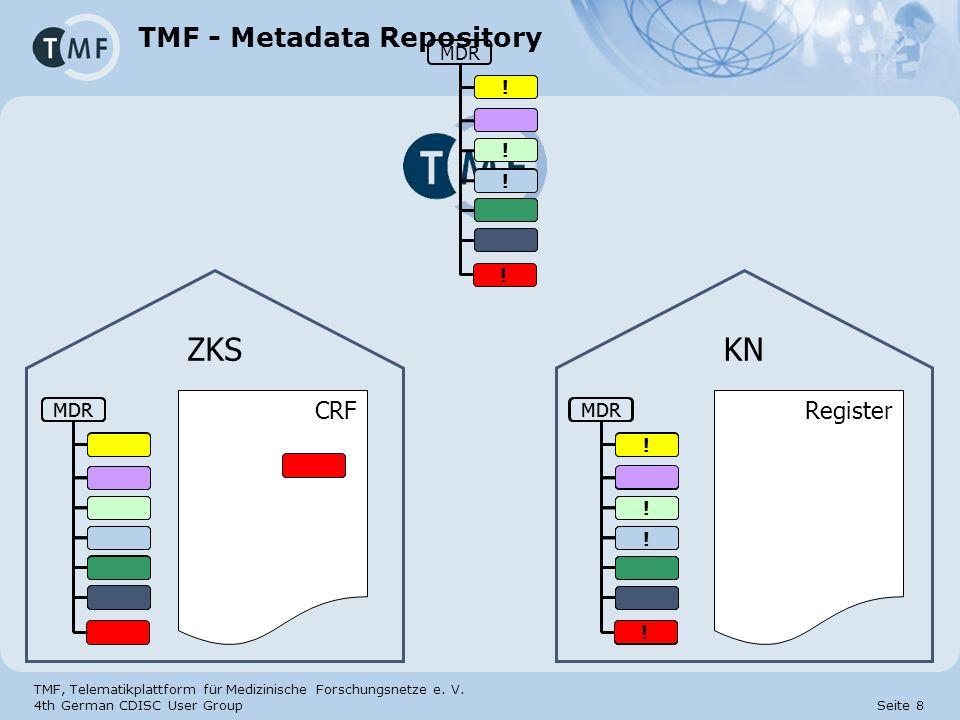 TMF, Telematikplattform für Medizinische Forschungsnetze e. V. 4th German CDISC User Group Seite 8 MDR TMF - Metadata Repository CRF MDR ZKS KN MDR !