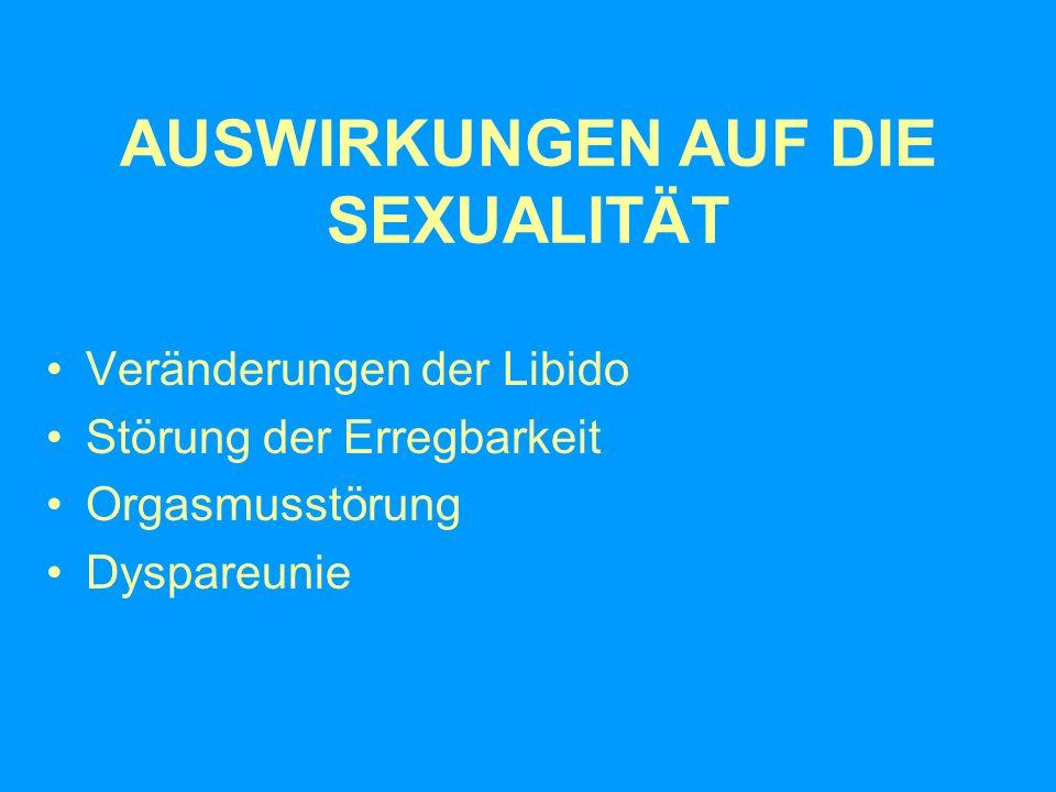 AUSWIRKUNGEN AUF DIE SEXUALITÄT Veränderungen der Libido Störung der Erregbarkeit Orgasmusstörung Dyspareunie