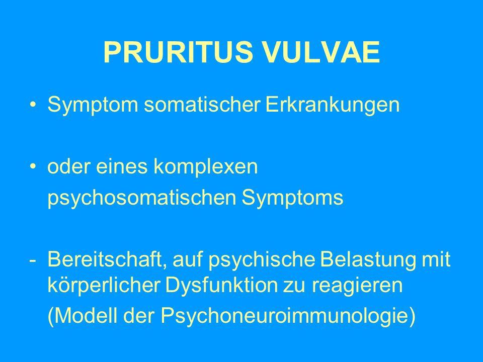 PRURITUS VULVAE Symptom somatischer Erkrankungen oder eines komplexen psychosomatischen Symptoms -Bereitschaft, auf psychische Belastung mit körperlic