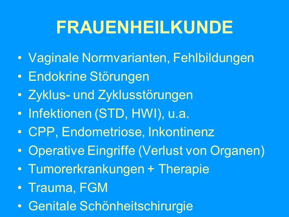FRAUENHEILKUNDE Vaginale Normvarianten, Fehlbildungen Endokrine Störungen Zyklus- und Zyklusstörungen Infektionen (STD, HWI), u.a. CPP, Endometriose,
