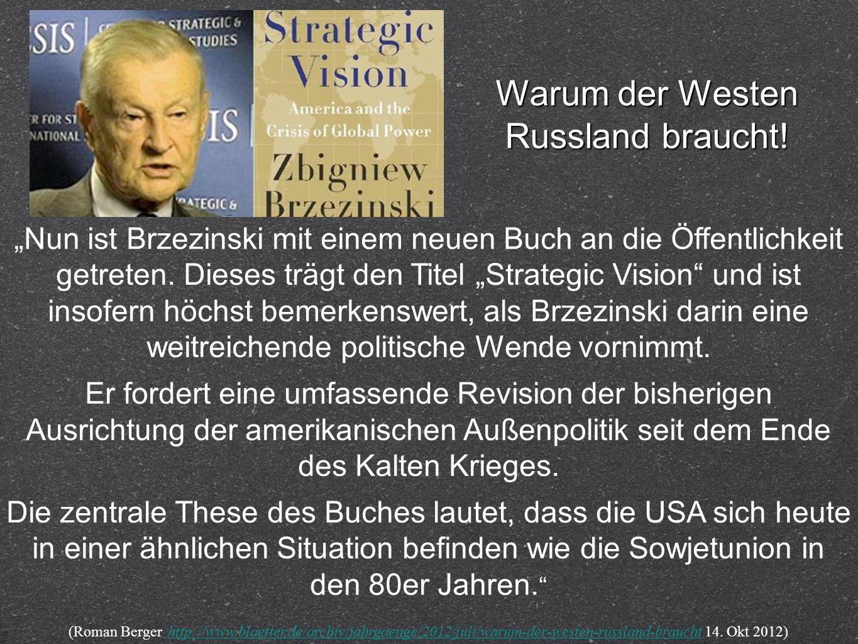 Nun ist Brzezinski mit einem neuen Buch an die Öffentlichkeit getreten. Dieses trägt den Titel Strategic Vision und ist insofern höchst bemerkenswert,