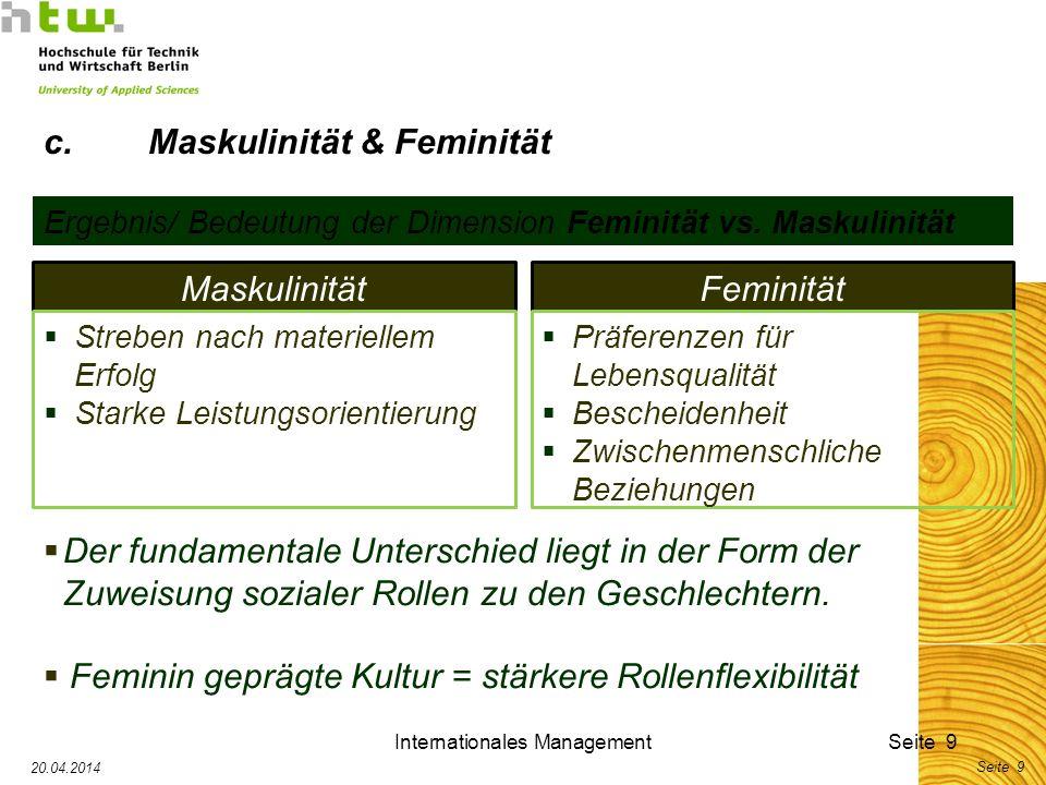 Internationales ManagementSeite 9 20.04.2014 Seite 9 Ergebnis/ Bedeutung der Dimension Feminität vs. Maskulinität MaskulinitätFeminität Präferenzen fü