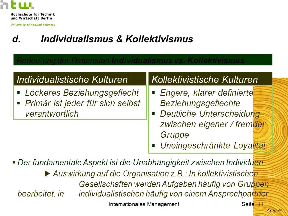 Internationales ManagementSeite 11 Bedeutung der Dimension Individualismus vs. Kollektivismus Individualistische KulturenKollektivistische Kulturen De
