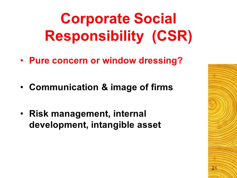21 Corporate Social Responsibility (CSR) Pure concern or window dressing? Communication & image of firms Risk management, internal development, intang