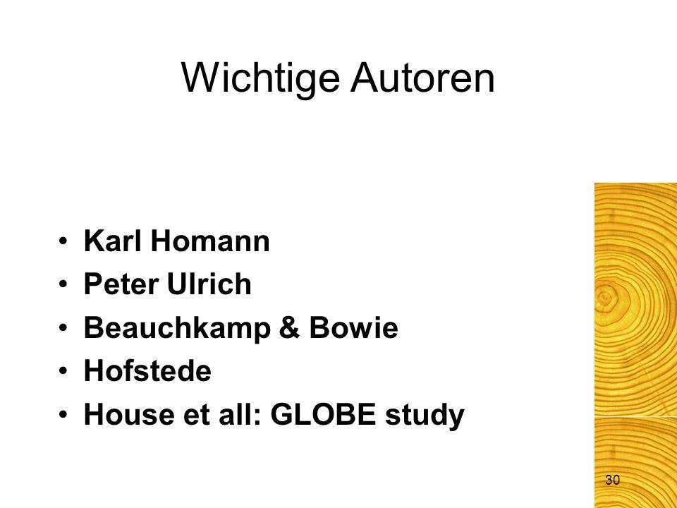 30 Karl Homann Peter Ulrich Beauchkamp & Bowie Hofstede House et all: GLOBE study Wichtige Autoren