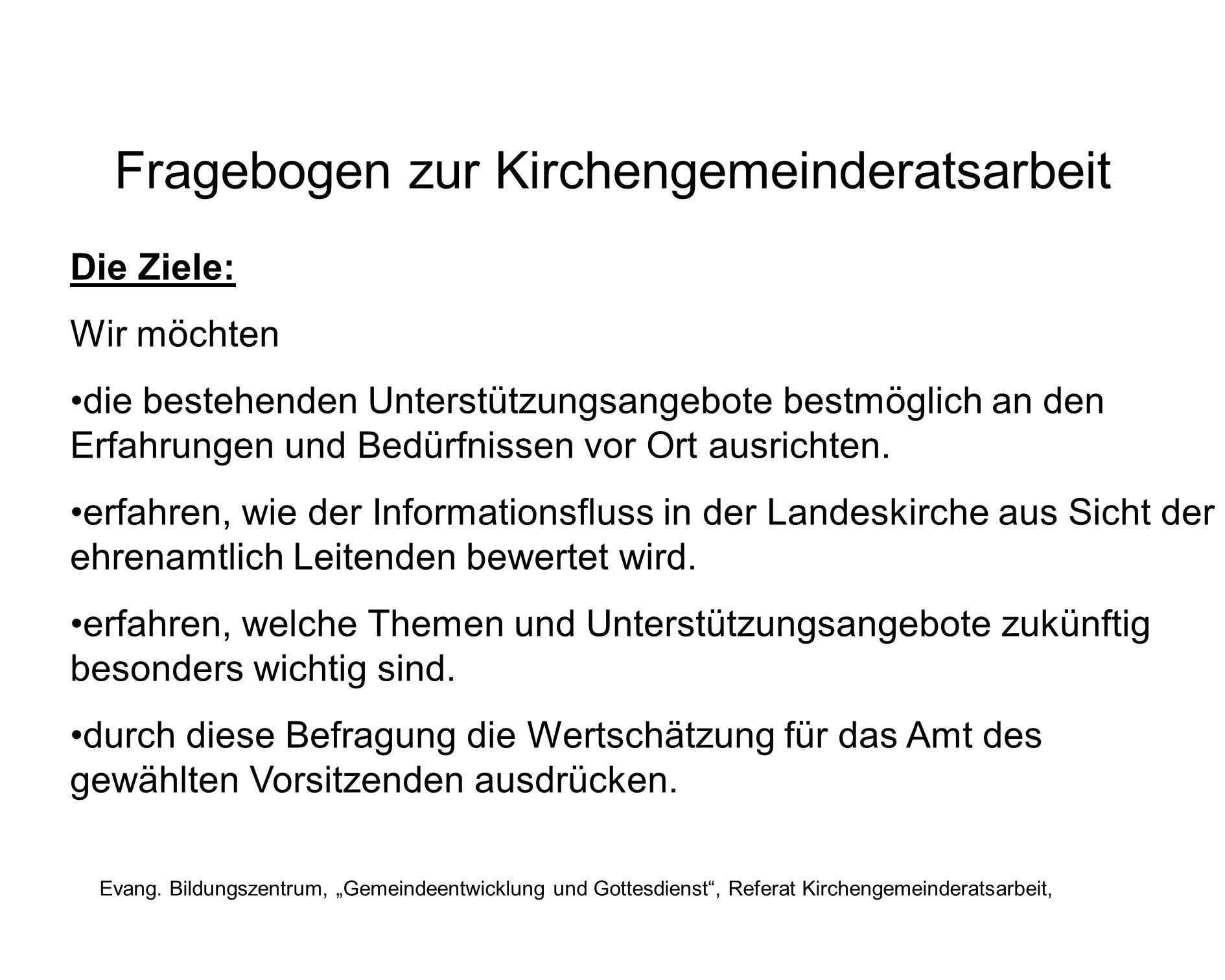 Fragebogen zur Kirchengemeinderatsarbeit Evang.