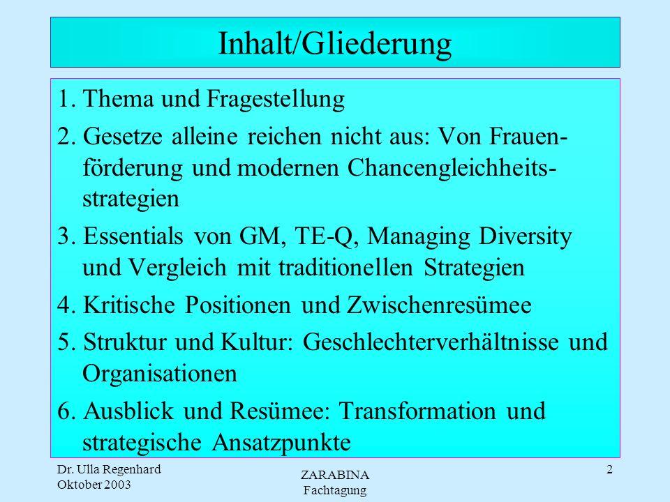 Oktober 2003 ZARABINA Fachtagung 2 Inhalt/Gliederung 1.Thema und Fragestellung 2.