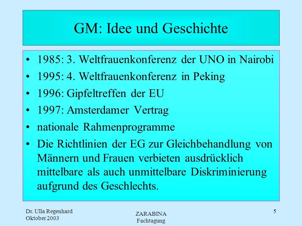 Dr. Ulla Regenhard Oktober 2003 ZARABINA Fachtagung 4 Gender Mainstreaming Definitionen - es gibt zahlreiche und unterschiedliche GM besteht in der (R