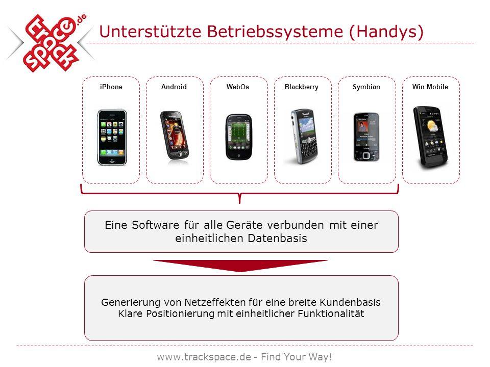 www.trackspace.de - Find Your Way! Unterstützte Betriebssysteme (Handys) iPhone AndroidWebOsBlackberrySymbianWin Mobile Eine Software für alle Geräte