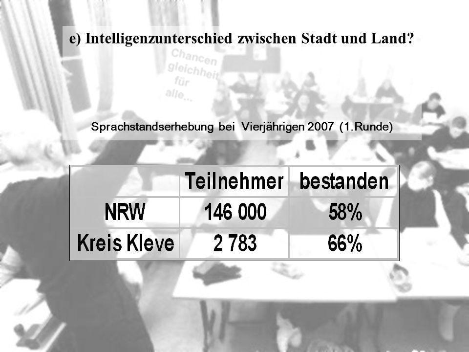 e) Intelligenzunterschied zwischen Stadt und Land? Sprachstandserhebung bei Vierjährigen 2007 (1.Runde)