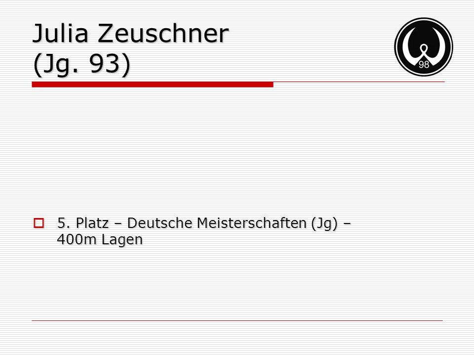 Julia Zeuschner (Jg. 93) 5. Platz – Deutsche Meisterschaften (Jg) – 400m Lagen 5. Platz – Deutsche Meisterschaften (Jg) – 400m Lagen