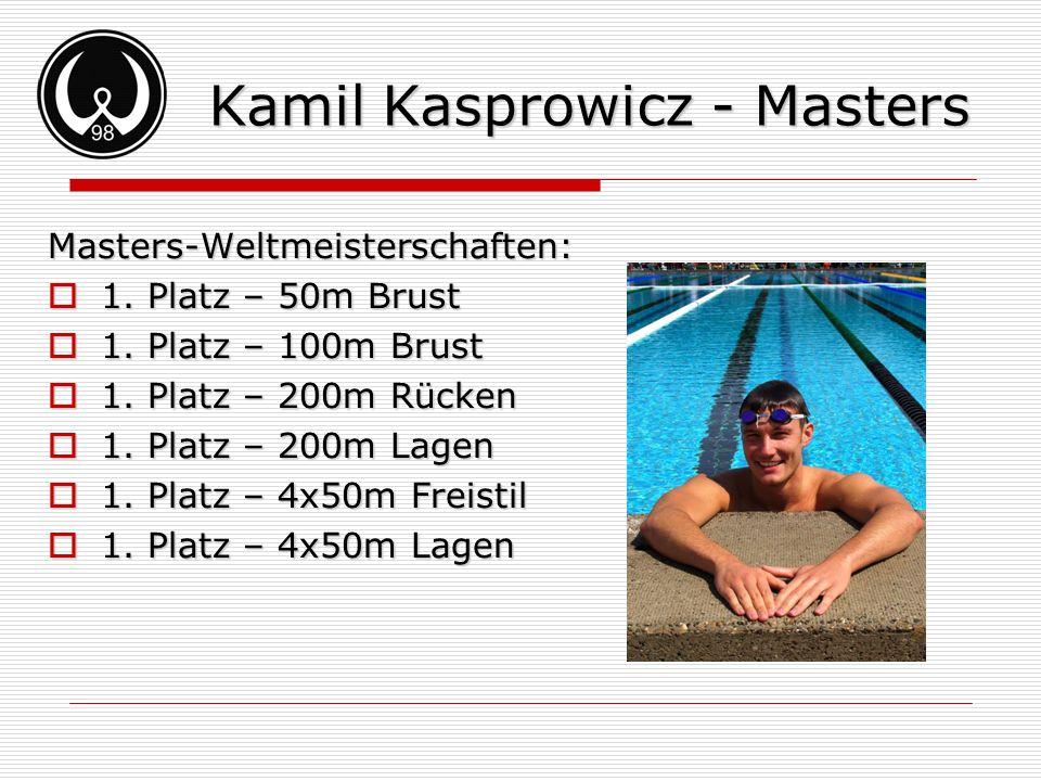 Kamil Kasprowicz - Masters Masters-Weltmeisterschaften: 1. Platz – 50m Brust 1. Platz – 50m Brust 1. Platz – 100m Brust 1. Platz – 100m Brust 1. Platz