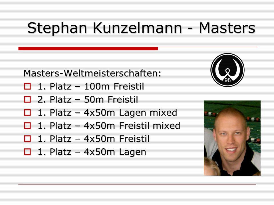 Stephan Kunzelmann - Masters Masters-Weltmeisterschaften: 1. Platz – 100m Freistil 1. Platz – 100m Freistil 2. Platz – 50m Freistil 2. Platz – 50m Fre