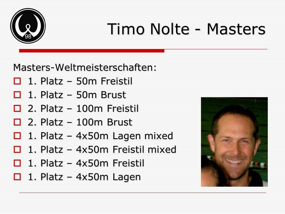 Timo Nolte - Masters Masters-Weltmeisterschaften: 1. Platz – 50m Freistil 1. Platz – 50m Freistil 1. Platz – 50m Brust 1. Platz – 50m Brust 2. Platz –