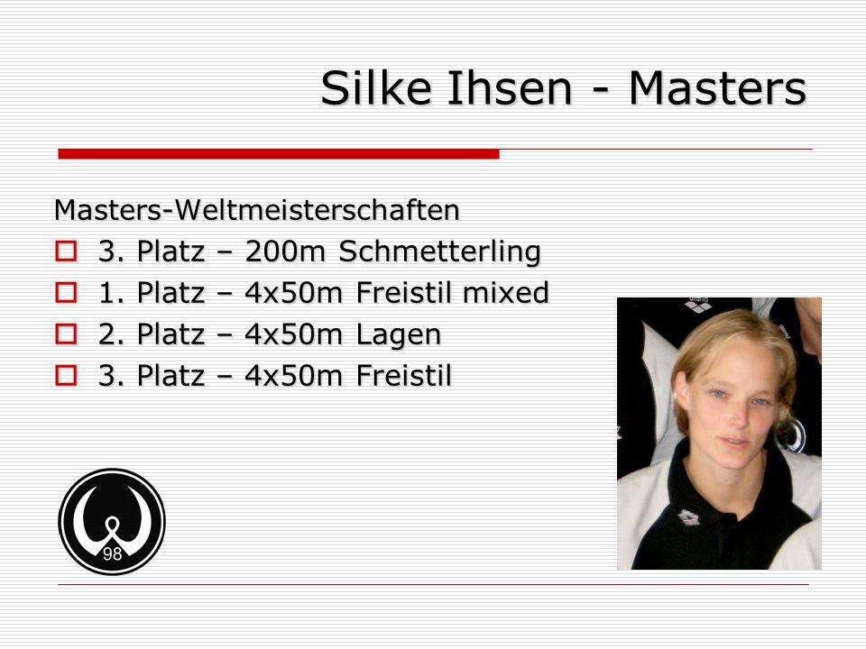 Silke Ihsen - Masters Masters-Weltmeisterschaften 3. Platz – 200m Schmetterling 3. Platz – 200m Schmetterling 1. Platz – 4x50m Freistil mixed 1. Platz
