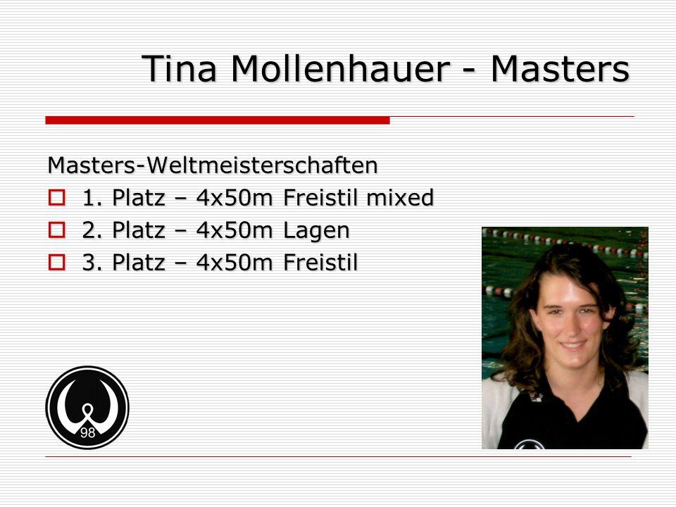 Tina Mollenhauer - Masters Masters-Weltmeisterschaften 1. Platz – 4x50m Freistil mixed 1. Platz – 4x50m Freistil mixed 2. Platz – 4x50m Lagen 2. Platz