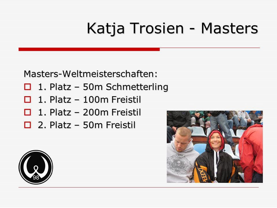 Katja Trosien - Masters Masters-Weltmeisterschaften: 1. Platz – 50m Schmetterling 1. Platz – 50m Schmetterling 1. Platz – 100m Freistil 1. Platz – 100