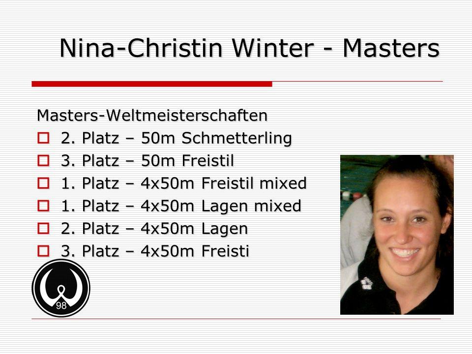 Nina-Christin Winter - Masters Masters-Weltmeisterschaften 2. Platz – 50m Schmetterling 2. Platz – 50m Schmetterling 3. Platz – 50m Freistil 3. Platz