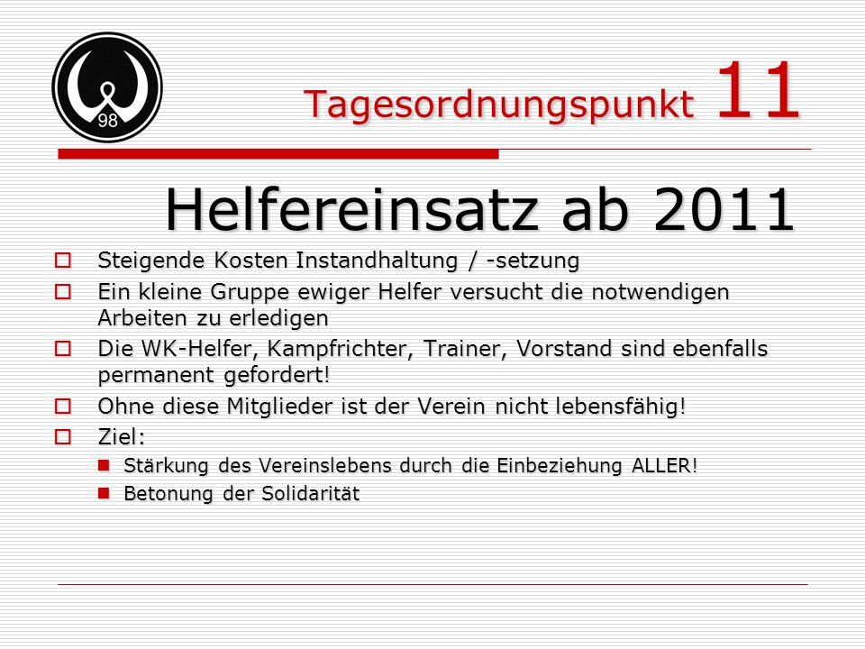 Tagesordnungspunkt 11 Helfereinsatz ab 2011 Steigende Kosten Instandhaltung / -setzung Steigende Kosten Instandhaltung / -setzung Ein kleine Gruppe ew