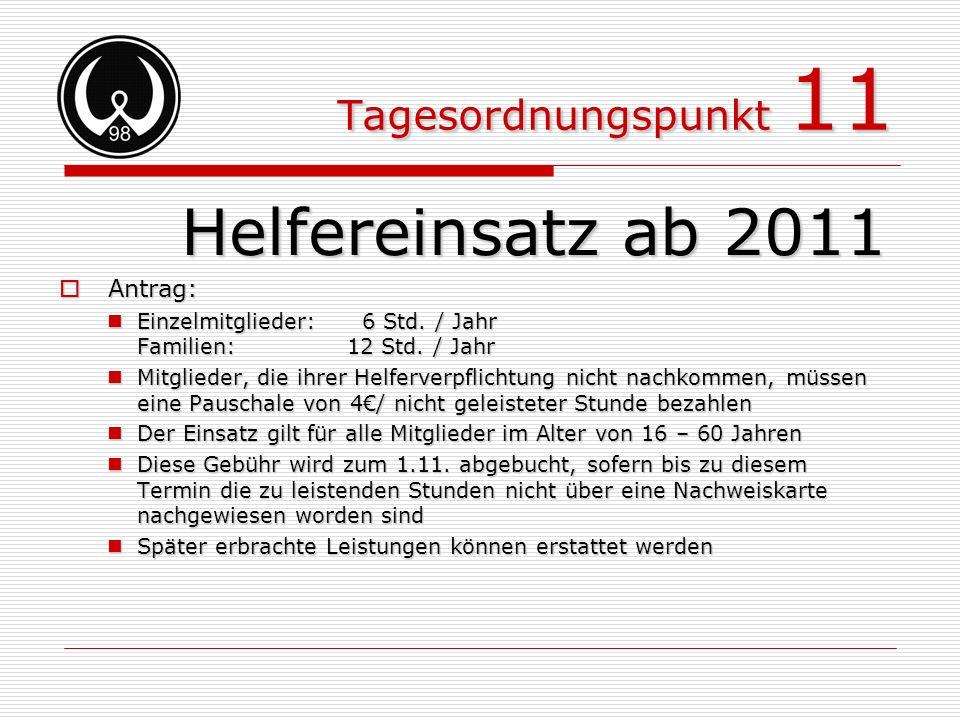 Tagesordnungspunkt 11 Helfereinsatz ab 2011 Antrag: Antrag: Einzelmitglieder: 6 Std. / Jahr Familien:12 Std. / Jahr Einzelmitglieder: 6 Std. / Jahr Fa