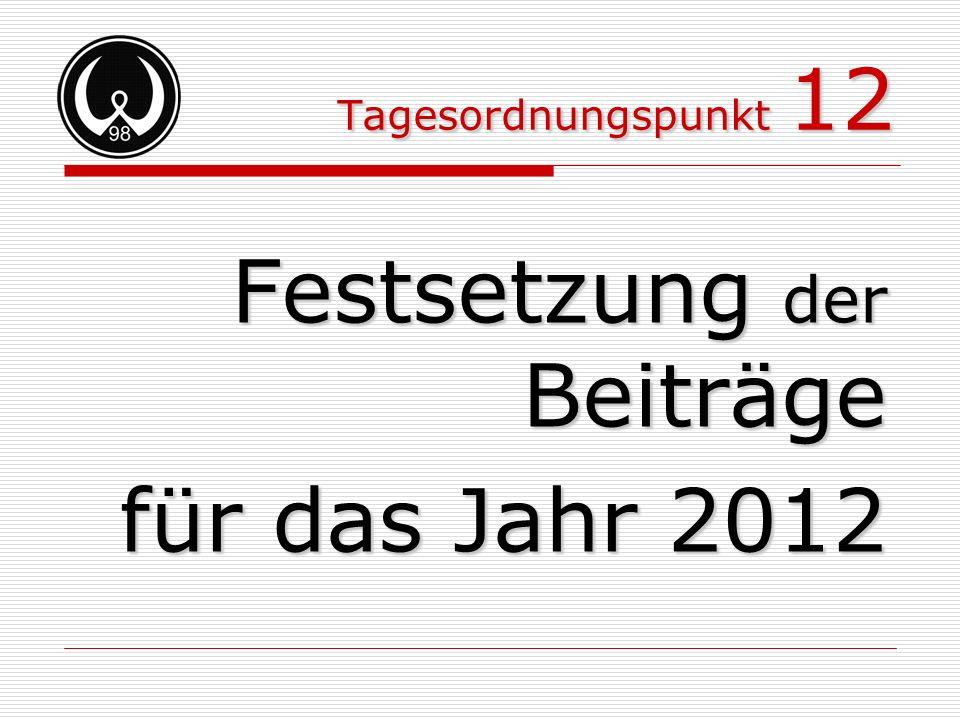 Tagesordnungspunkt 12 Festsetzung der Beiträge für das Jahr 2012