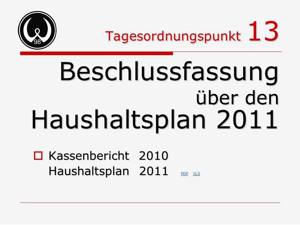 Tagesordnungspunkt 13 Beschlussfassung über den Haushaltsplan 2011 Kassenbericht 2010 Kassenbericht 2010 Haushaltsplan 2011 PDF XLS PDF XLS PDF XLS