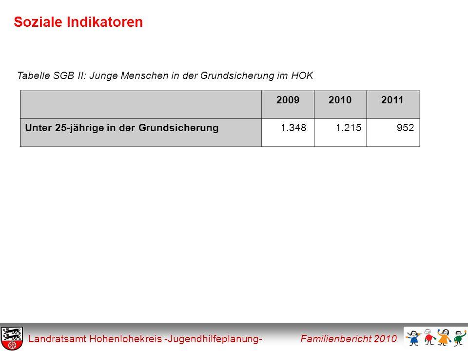 Soziale Indikatoren Landratsamt Hohenlohekreis -Jugendhilfeplanung- Familienbericht 2010 200920102011 Unter 25-jährige in der Grundsicherung1.348 1.21