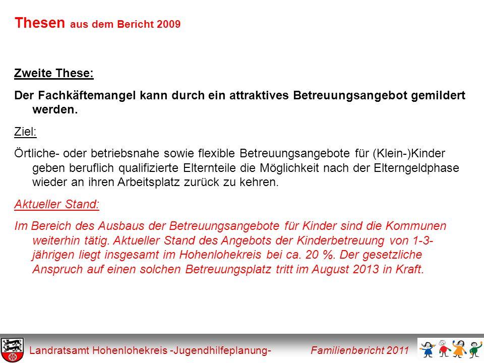 Thesen aus dem Bericht 2009 Landratsamt Hohenlohekreis -Jugendhilfeplanung- Familienbericht 2011 Zweite These: Der Fachkäftemangel kann durch ein attr