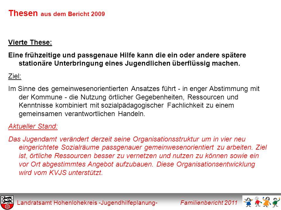 Thesen aus dem Bericht 2009 Landratsamt Hohenlohekreis -Jugendhilfeplanung- Familienbericht 2011 Vierte These: Eine frühzeitige und passgenaue Hilfe k
